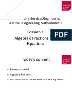 Maths Lecture 4 Algebraic Fractions and Transposition