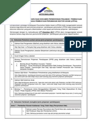 Hebahan Senarai Lampiran Baharu Dokumen Permohonan Pembiayaan Lppsa