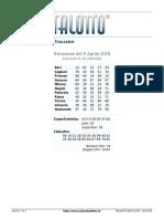 Estrazioni del Lotto Italiano di martedi 9 Aprile 2019