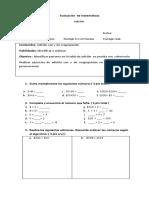 Evaluación  I. MATEMATICAS  4°