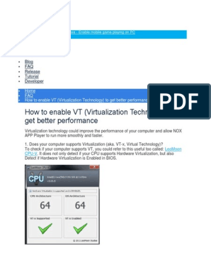 How to enable VT (Virtualization Technology) to get better