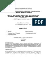 Precio de Reserva y Elasticidad Empresa Ferrov Andina