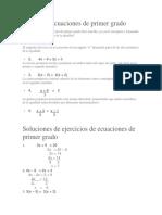 Ejercicios Ecuaciones de Primer Grado.