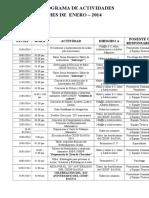 001. Cronograma de Actividades -Enero- 2014