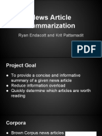 newsarticlesummarizationpresentation1-131206192707-phpapp01