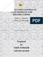 Construction Contract, Cost Estimating and Quantity Surveying