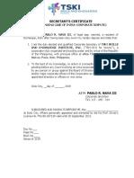 Secretary Certificate