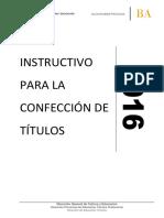 Instructivo Para La Confección de Títulos 2016