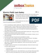Electric Pallet Jack Safety