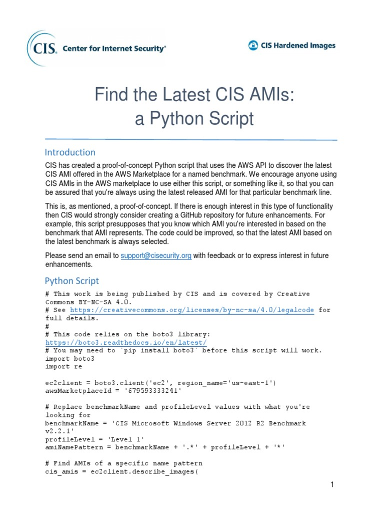 CIS AMIs | Python (Programming Language) | Information Technology