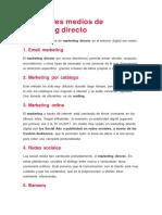 Principales Medios de Marketing Directo