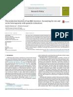 A Função de Produção Dos Principais Investidores Em P & D Contabilidade de Tamanho e