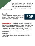 Anaphoric and Cataphoric