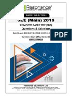 JEE Main 2019 Physics April Attempt Shift - 2(10th April, 2019)