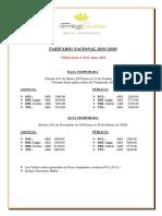 Tarifario Terraza Coirones Nacional 2019-2020