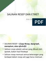 11. Salinan Resep Dan Etiket