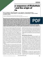 Siv G.E. Andersson et al.꞉ The genome sequence of Rickettsia prowazekii and the origin of mitochondria.pdf