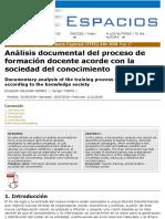 Análisis Documental Del Proceso Deformación Docente Acorde Con Lasociedad Del Conocimiento