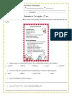 avaliação PORTUGUÊS 3ºano
