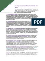 Acciones de Una Empresa Para El Funcionamiento Del Modelo de Negocio