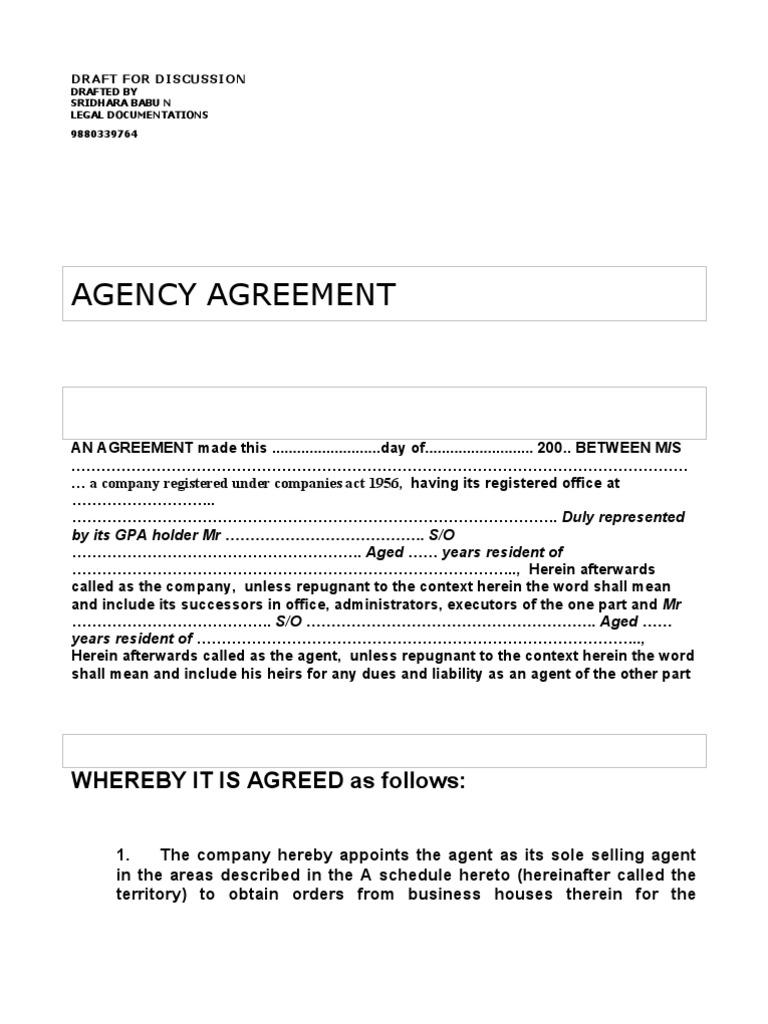 Agency Agreement Model Deed Law Of Agency Telegraphy