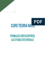 (2.1) Formulele Metacentrice Ale Stabilitatii Initiale