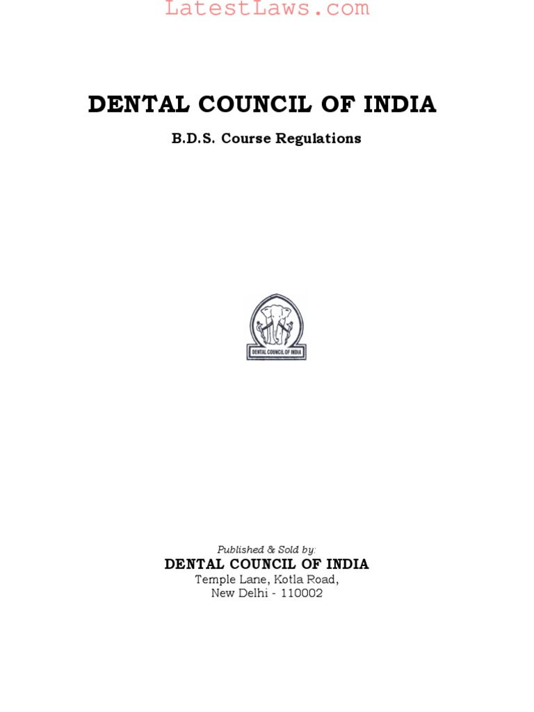 BDS Course Regulations, 1983 | Dental Degree | University