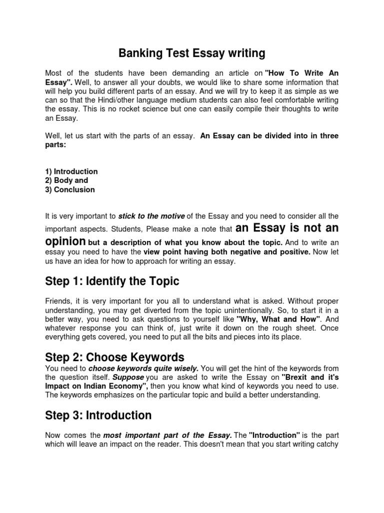 Essay Writing Suggestion in Exams  PDF  Essays  Question