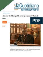 La Crisi Dell'Europa e Conseguenza Del Rifiuto Di Dio