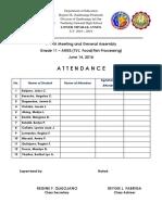 PTA Meeting Attendance 2018 - 2019