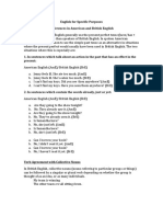English for Specific Purposes (British English vs. American English)