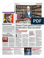 Alonso Cueto Gana El Premio Narrativa Juan Goytisolo