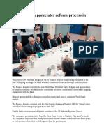 World Bank Appreciates Reform Process in Pakistan