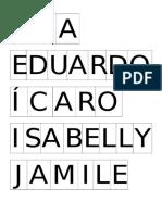 Cartela de Bingo Com Os Nomes Dos Alunos