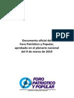 DOCUMENTO DEL FORO PATRIÓTICO POPULAR 2019