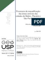 Processos de Requalificação Das Áreas Centrais Das Cidades de Belém, Marabá e São Paulo