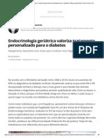 Endocrinologia Geriátrica Valoriza Tratamento Personalizado Para o Diabetes