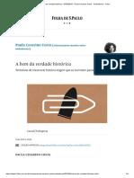 A Bem Da Verdade Histórica - 07-04-2019 - Paula Cesarino Costa - Ombudsman - Folha