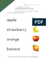 Word Recognition Worksheet Fruit