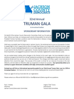 2019 Truman Gala Sponsor Packet