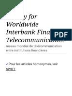 Society for Worldwide Interbank Financial Telecommunication — Wikipédia