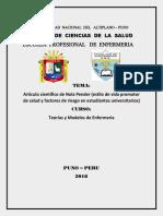 Articulo Sobre Nola Pender (Estilo de Vida Promotor de Salud y Factores de Riesgo en Estudiantes Universitarios) (1)