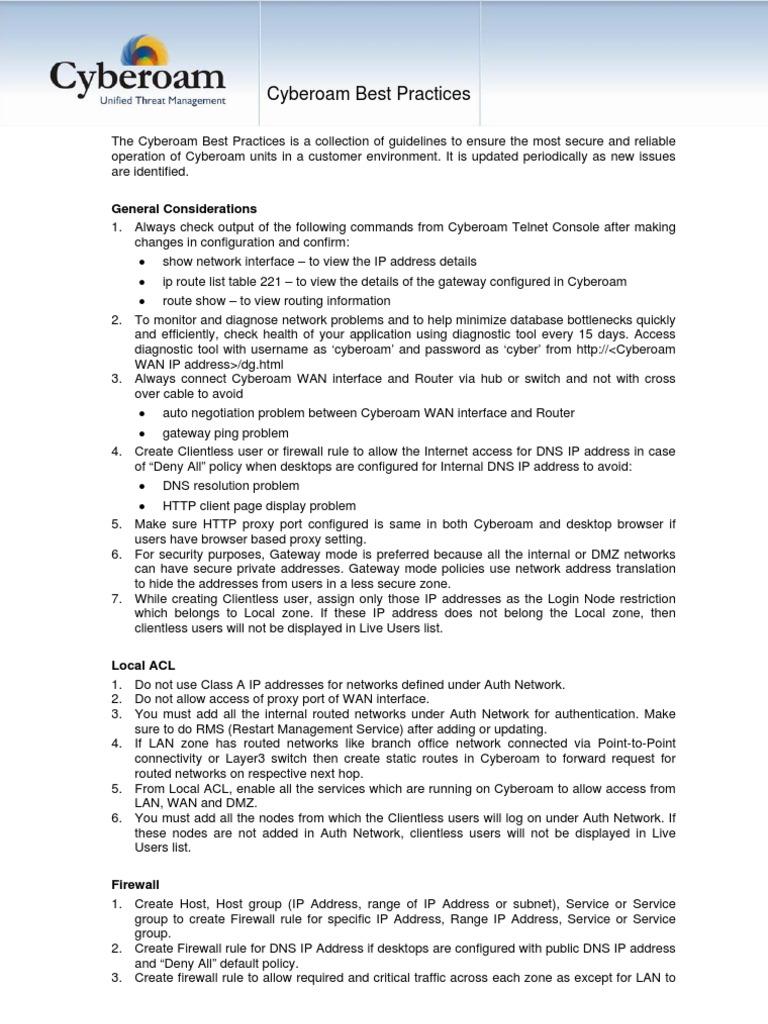 29 Cyberoam Best Practices | Ip Address | Firewall (Computing)