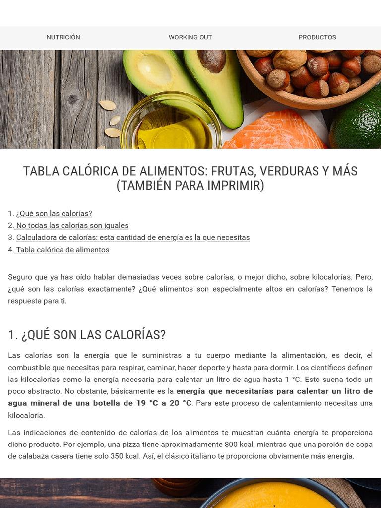 tabla calorica de todas las frutas