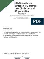 Health Disparities in Implementation of Genomic Medicine