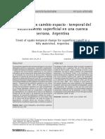 Tendencia de Cambio Espacio Temporal Del Escurrimiento Superficial en Una Cuenca Serrana Argentina