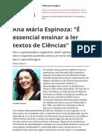 Ana Maria Espinoza e Essencial Ensinar a Ler Textos de Ciencias