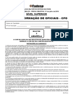 Prova Curso Adm de Form de Oficiais - Boletim 1 - Amarela - Nivel Superior - Tarde - Cfo