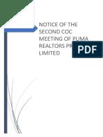 Notice for 2nd CoC Meeting.of Puma Realtors P Ltd