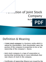 Formation of Joint Stock Company